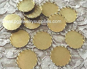 20mm round brass lace edge closed back settings 12 pieces lot l