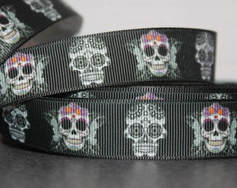 "1 YD Grosgrain Ribbon 7/8"" Skulls Day of the Dead"