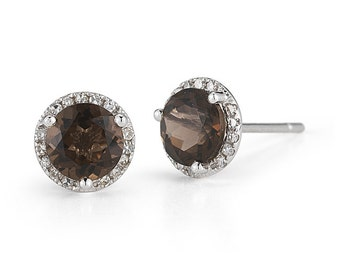 Brown Topaz Earrings, Brown Topaz Studs, Topaz Stud Earrings, Gemstone Earrings, Gemstone Studs, White Gold Stud Earrings