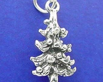 CHRISTMAS TREE Charm, Pine, Fir Tree .925 Sterling Silver Charm