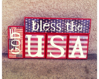 Patriotic blocks - GOD bless the USA
