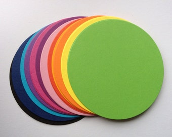 20 Large Bright Circle oval die cuts for card toppers layering cardmaking