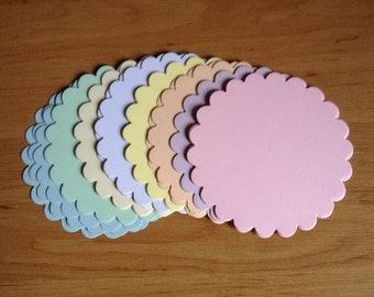 20 Large Pastel Scalloped circle die cuts for matting layering cards toppers craft projects ready to post