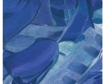 Blue Abstract Print- Aerial View- Colored Pencil- Modern Surreal Decor- 6x6