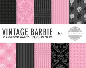 Vintage Barbie Parisian Black and Pink Digital Paper - Commercial Use - Instant Download