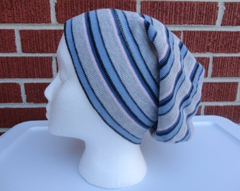 Grey Blue and Pink-Striped Women's or Men's Slouchy Hat Made from Upcycled / Recycled Sweater