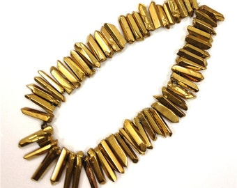 GH160 Polished Smooth Gold Titanium Quartz Beads, Gold Cystal Spike Beads, Gold Quartz Point Beads, Rock Crystal Briolette Beads SLB-018