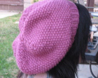 Rose-colored knitted hat