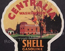 Shell Gasoline 1920s Travel Decal Magnet for CENTRALIA (WA). Accurate reproduction & hand cut in shape as designed. Nice Travel Decal Art.