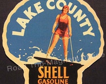 Shell Gasoline 1920s Travel Decal Magnet for LAKE COUNTY. Accurate reproduction & hand cut in shape as designed. Nice Travel Decal Art.