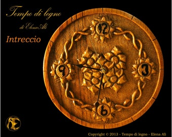 Intreccio (Interweaving) - Hand carved wood wall clock