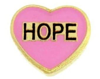 SALE- Pink Heart Hope Locket Charm for Locket Necklace or Bracelet (HH1163)