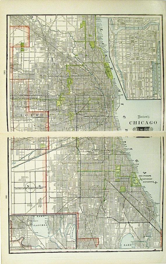 Sale Large Chicago Atlas Map Kansas City Amp Cincinnati