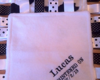 Personalised or blank Taggy Blanket/Comforter/Gift in White