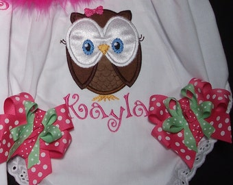 Owl Bloomers personalized with name, applique, embroidered