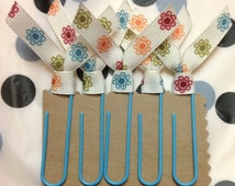 Ribbon Bookmark 5 pack. Spring Flowers. Classy Clips. Paperclip Bookmark. Desk Decor. Office Accessories. Teacher Valentine Secretary Gift.