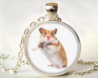 Hamster Necklace,Art Pendant,Hamster  Pendant,  Jewelry, Hamster  Jewelry, Gift, Print,Glass,Photo,Jewellery