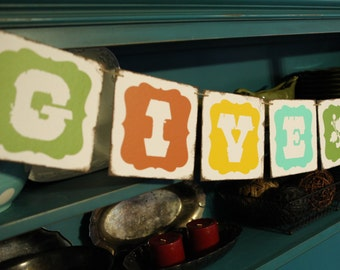 GIVE THANKS 6x6 inch chip board banner garland bunting decoration