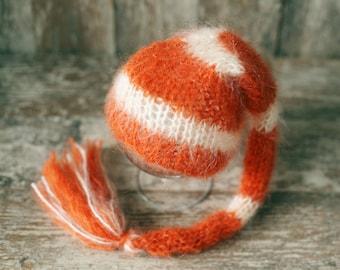 Newborn Munchkin Hat, Knitted Mohair Baby Girl Boy Hat,Stripe Orange Ivory, Elf hat, Knit baby hat, Photo prop, Photography,Beanie