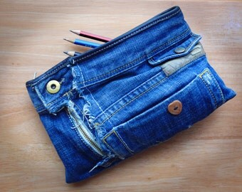 Handmade Recycled Denim Pencil Case