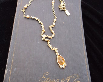 Vintage 1928 necklace topaz look drop pendant