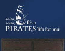 Pirate Song with ship, Pirate decal, Nautical Room, Pirates life
