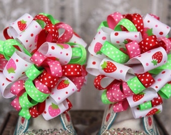 Strawberry Shoe Bows or Pigtail bows