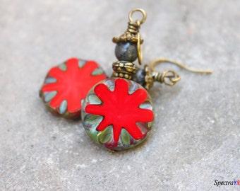 Red Czech Picasso Earrings - Opaque Red Earrings - Czech Picasso Earrings - Boho Earrings - Coin Shaped Bead Earrings