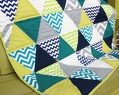 Modern Triangle Quilt - Aqua, Citron, Grey, Navy with Minky Speedsters