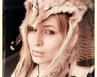 Real Coyote headdress with feathers