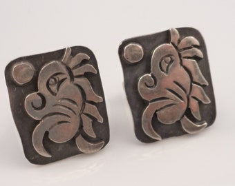 Vintage Aztec Feather Serpent Deity Cufflinks Sterling Silver Signed  Cr Lucy's