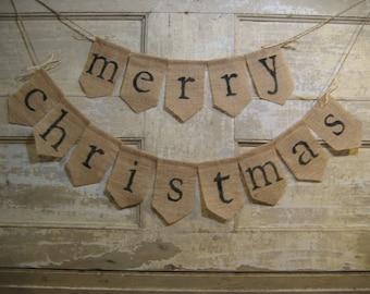 Ready to Ship, Merry Christmas Burlap Banner, Merry Christmas Bunting, Christmas Holiday Decor, Burlap Bunting Garland, Rustic Christmas
