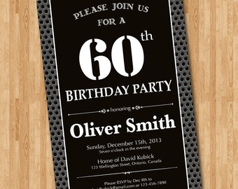 60th Birthday Invitation for man. Black and white birthday party invites. Chalkboard. Printable digital DIY.