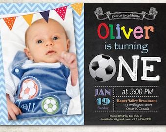 Soccer birthday invitation. Baby boy 1st first birthday party invite. Chalkboard bday invites with photo. Printable digital DIY.