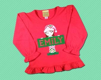 Girl's Christmas Shirt with Elf and Embroidered Name Sign