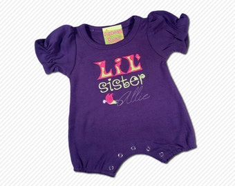 Girls Cute Lil Sister Purple Frill Baby Bodysuit with Embroidered Name