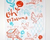 Tea Towel Oh Petaluma Chickens