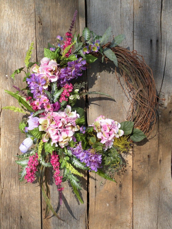 spring wreath front door wreath summer wreath by kathyswreathshop. Black Bedroom Furniture Sets. Home Design Ideas