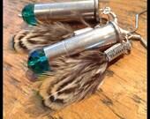 Teal .38 special Bullet earrings