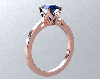 Sapphire Engagement Ring Round 1.0ct Sapphire Solitaire Ring 14k Rose Gold Nature Inspired Bloomed Love Ring Pristine Custom Rings