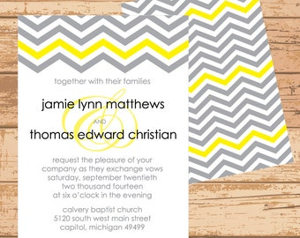 Gray and Yellow Chevron Invitation - Printable PDF JPEG - Double Sided