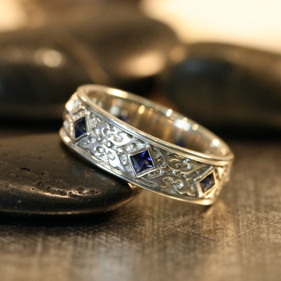 Celtic Wedding Band Princess Cut Sapphire Wedding Ring 14k