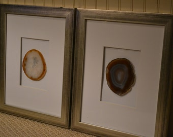 set of 4 natural framed agate slices with goldsilver leaf edging