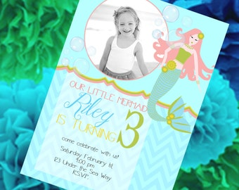 Mermaid Invitation, Birthday Invitation, Mermaid Birthday Party, Printable + FREE Matching Thank You Card!