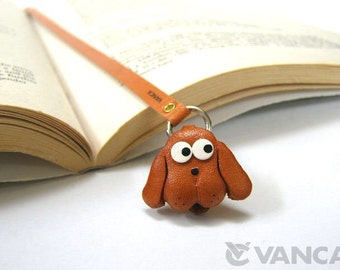 Dog Leather 3D Dog Bookmark/Bookmarks/Bookmarker *VANCA* Made in Japan #26103 Free Shipping