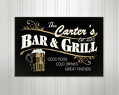 Personalized Beer Sign, Personalized Sign, Personalized Bar and Grill Pub, ManCave Bar Sign, Custom Pub Sign
