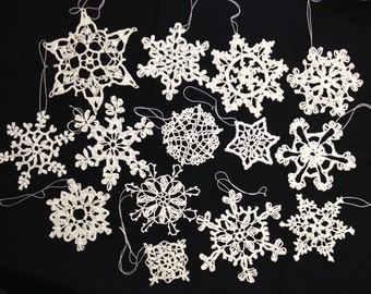 Christmas crochet Snowflake Ornaments. Set of 14  in 14 different designs.
