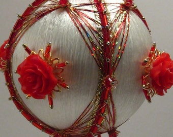 Red Red Rose - Floral Theme - A Finished Hand Made Beaded Satin Ornament With Crystals