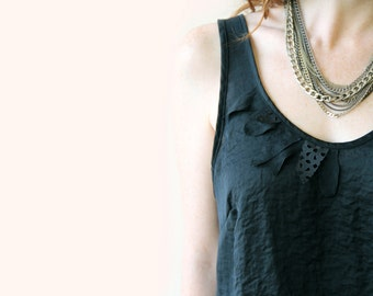 Sleeveless Black Shirt / Women Shoulder Straps Shirt / Casual Shirt / Women Blouse / Patches Shirt