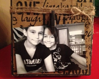 """Rustic Wood Photo Frame with Decoupage """"Live, Laugh, Love"""" Scrapbook Paper, Twine & Clip Holder"""